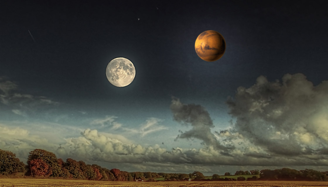 Image result for moon and mars