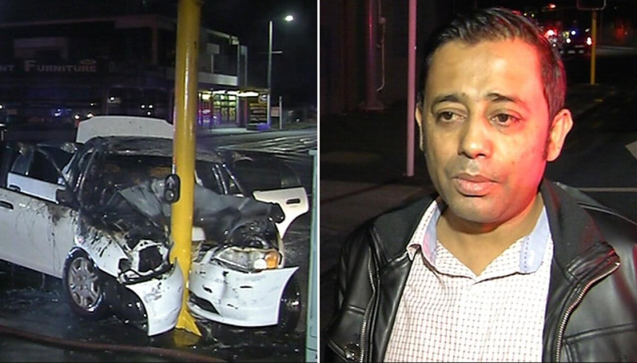 Witness pulls man from burning vehicle after Auckland crash | Newshub