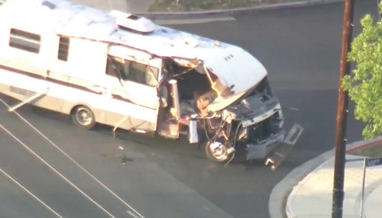 Half-destroyed campervan rampages through California during police chase
